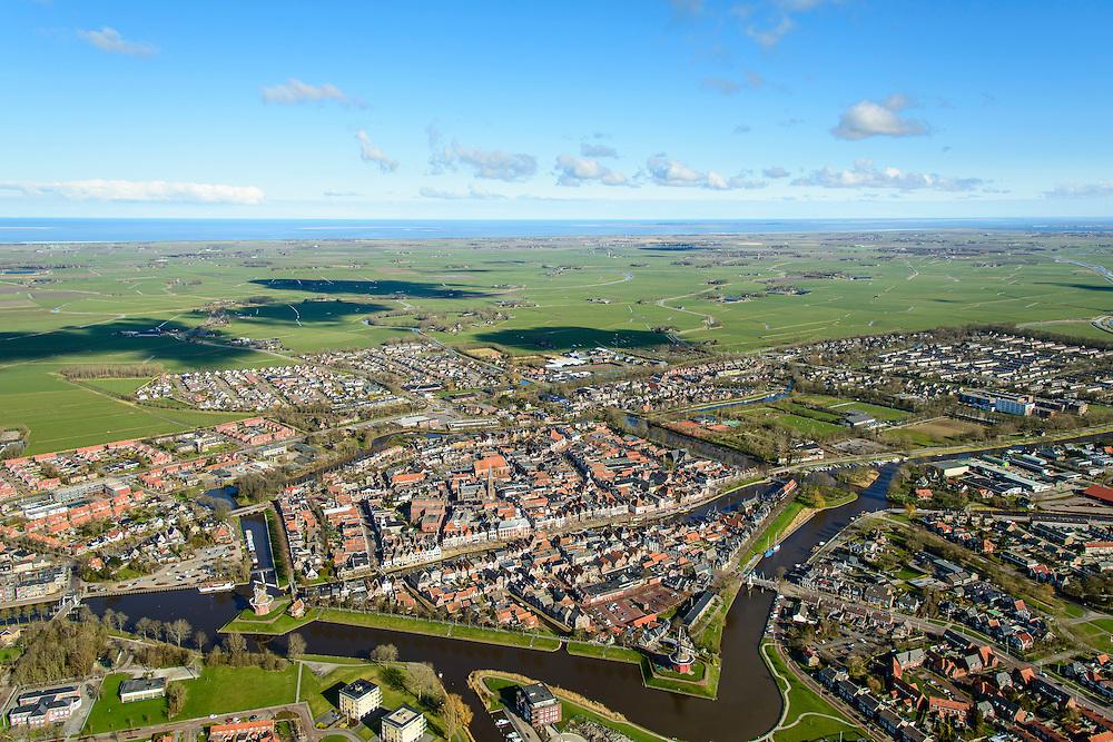 Nederland, Friesland, gemeente Dongeradeel, 28-02-2016; het landschap van de Kleistreek met Dokkum, gezien  naar de Waddenzee met Schiermonnikoog aan de horizon.<br /> Dokkum, smaal town in the very North of Frielsland.<br />  <br /> luchtfoto (toeslag op standard tarieven);<br /> aerial photo (additional fee required);<br /> copyright foto/photo Siebe Swart