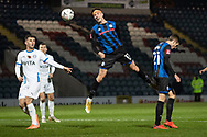 Rochdale A.F.C forward Jake Beesley (11)heads the ball  during the The FA Cup match between Rochdale and Stockport County at the Crown Oil Arena, Rochdale, England on 7 November 2020.