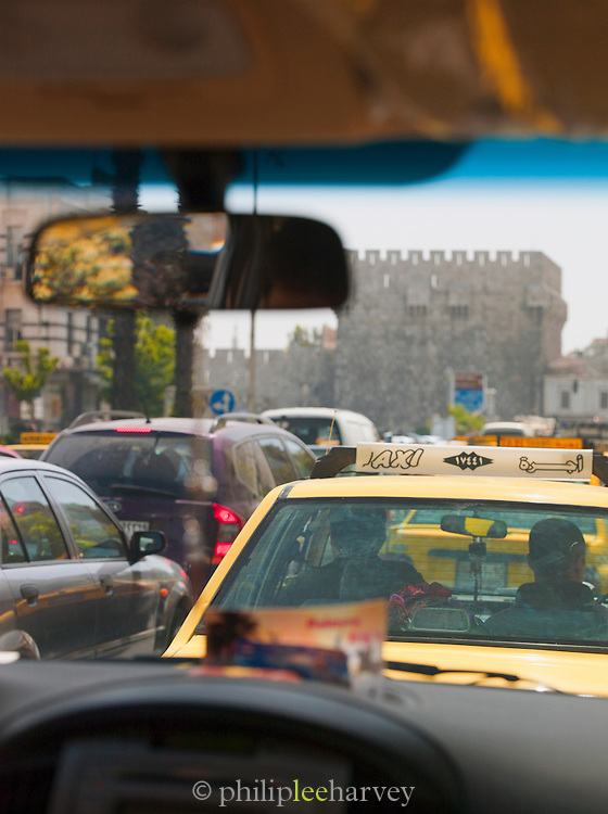 Busy morning, rush hour traffic, at the old city wall in Damascus, Syria