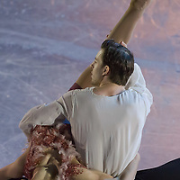 Stefania Berton and Ondrej Hotarek of Italy placed 4th in the Pairs Figure Skating competition perform during the gala exhibition of the ISU European Figure Skating Championships in Budapest, Hungary on January 19, 2014. ATTILA VOLGYI