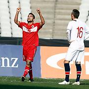 Turkey U21's Bertul Kocabas celebrate his goal during their friendly soccer match Turkey U21 betwen Norway U21 at Ataturk Olympic stadium in Istanbul February 06, 2013. Photo by Aykut AKICI/TURKPIX