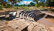 Roman Amphitheatre of Troy . Troy archaeological site, A UNESCO World Heritage Site, Turkey