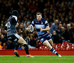 Owen Lane of Cardiff Blues under pressure from  Sam Davies of Ospreys<br /> <br /> Photographer Simon King/Replay Images<br /> <br /> Guinness PRO14 Round 21 - Cardiff Blues v Ospreys - Saturday 27th April 2019 - Principality Stadium - Cardiff<br /> <br /> World Copyright © Replay Images . All rights reserved. info@replayimages.co.uk - http://replayimages.co.uk