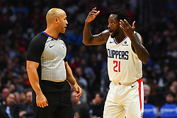 January 29, 2019 - Los Angeles, CA, U.S. - LOS ANGELES, CA - JANUARY 28: Los Angeles Clippers Guard Patrick Beverley (21) talks over a play with an official during a NBA game between the Atlanta Hawks and the Los Angeles Clippers on January 28, 2019 at STAPLES Center in Los Angeles, CA. (Photo by Brian Rothmuller/Icon Sportswire) (Credit Image: © Brian Rothmuller/Icon SMI via ZUMA Press)