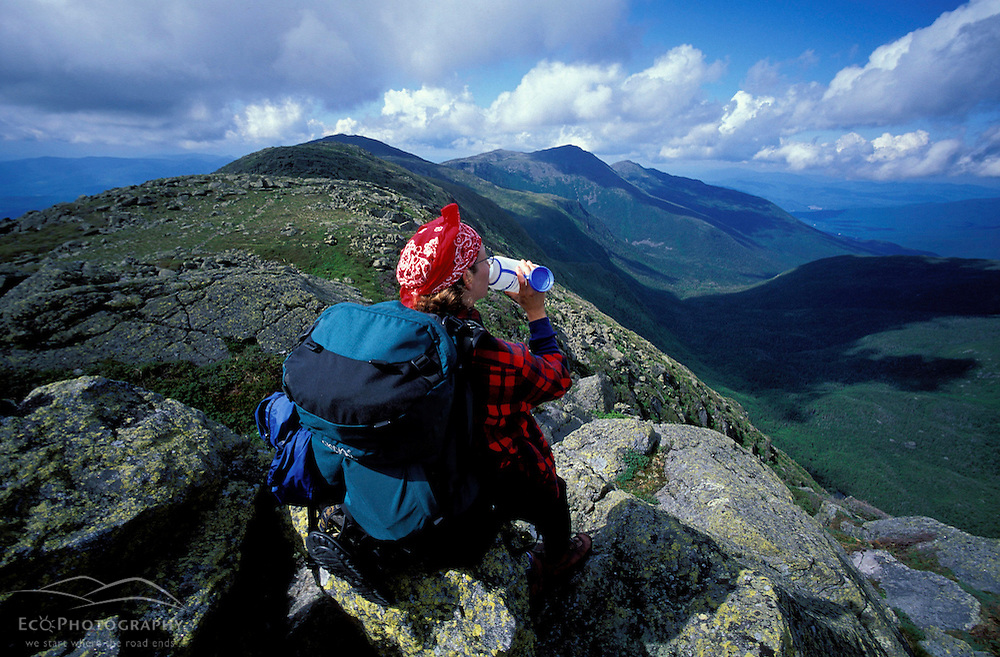 Part of the Appalachian Trail. Mt. Clay. Taking in the view of the Great Gulf and the Northern Presidentials, in New Hampshire's White Mountains.  White Mountains NH, Gulfside Trail