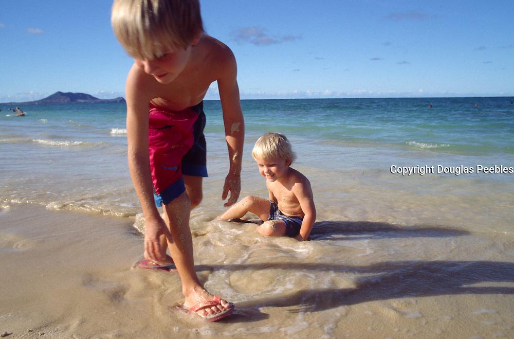 Boys on Kailua Beach, Oahu, Hawaii<br />