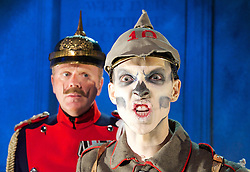 Sommer 14 - A Dance of Death <br /> by Rolf Hochhuth<br /> in a free adaptation by Gwynne Edwards<br /> at The Finborough Theatre, London, Great Britain <br /> 5th August 2014<br /> Press photocall<br /> <br /> Dean Bray as Death <br /> <br /> Nick Dana as Monsieur Calmette<br /> <br /> Andrea hart as Madame Caillaux<br /> <br /> Edmund Dehn as Emperor Franz Joseph <br /> <br /> Peter Cadden as King Edward VII<br /> <br /> Kirby Hughes as Alice Keppel <br /> <br /> Sarah - Jayne Butler as Princess Stephanie and Lusitania Victim<br /> <br /> Stephen Omer as Theobold Bethmann Hollweg<br /> <br /> Reginald Edwards as Gottlieb von Jagow<br /> <br /> Tim Faulkner as Kaiser Wilhelm II <br /> <br /> David Meyer as Willy Stower<br /> <br /> <br /> Photograph by Elliott Franks <br /> Image licensed to Elliott Franks Photography Services