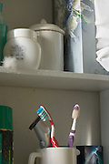 personal hygiene cabinet in bathroom