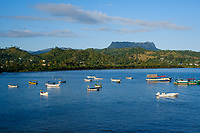 BARACOA, CUBA - CIRCA JANUARY 2020: Bay of Baracoa, view of El Junke and boats.