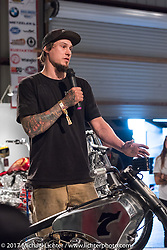 Custom builder Jake Cutler of Barnstom Cycles speaking at the Old Iron - Young Blood exhibition media and industry reception in the Motorcycles as Art gallery at the Buffalo Chip during the annual Sturgis Black Hills Motorcycle Rally. Sturgis, SD. USA. Sunday August 6, 2017. Photography ©2017 Michael Lichter.