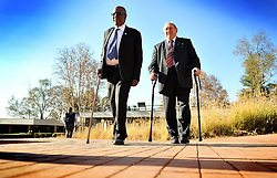 Andrew Mlangeni(L) and Denis Goldberg (R). Rivonia trialists Mlangeni and Goldberg signed for the Lilisleaf Rivonia ten gold medallion.<br />Picture: Itumeleng English/African News Agency(ANA)