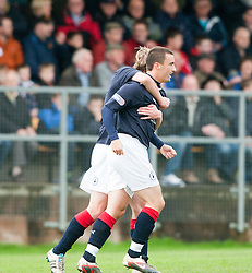 Falkirk's Mark Miller celebrates after scoring their first goal..Annan Athletic 0 v 3 Falkirk. Semi Final of the Ramsdens Cup, 9/10/2011..Pic © Michael Schofield.
