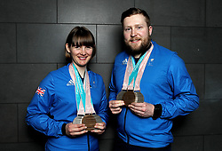 ParalympicsGB's Millie Knight and guide Brett Wild poses with their Bronze and 2 Silver medals as the team arrive at Heathrow Airport, London, following the PyeongChang 2018 Winter Paralympics.