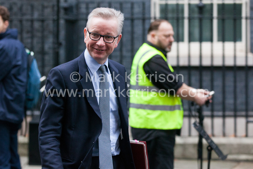 London, UK. 6th December, 2018. Michael Gove MP, Secretary of State for Environment, Food and Rural Affairs, leaves 10 Downing Street following a special Cabinet meeting called to discuss the latest developments regarding Brexit.