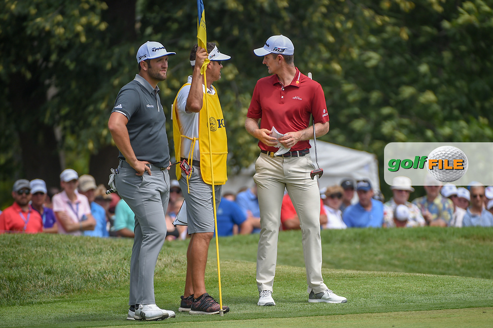 Jon Rahm (ESP) and Justin Rose (GBR) wait to putt on 1 during 1st round of the 100th PGA Championship at Bellerive Country Club, St. Louis, Missouri. 8/9/2018.<br /> Picture: Golffile | Ken Murray<br /> <br /> All photo usage must carry mandatory copyright credit (© Golffile | Ken Murray)