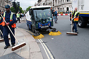 Westminster street cleaners clear up after Hardest Hit demonstration May11,
