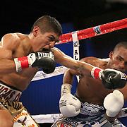 Richard Rodriguez (L) lands a shot the head of Jonathan Gonzalez during a Telemundo boxing match between at Osceola Heritage Park on Friday, February 23, 2018 in Kissimmee, Florida.  (Alex Menendez via AP)