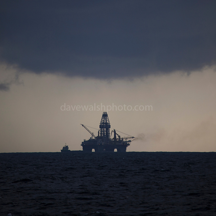 Transocean Development Driller rig at Deepwater Horizon disaster Site. Photograph made on board the Greenpeace ship Arctic Sunrise, September 2010.