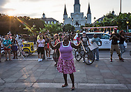 Emily Ewings, Micheal Brown's cousin gives an impassioned speech to a crowd of protesters <br />  in New Orleans  who took to the streets of the French Quarter after a vigil for Michael Brown, part of a  protest in solidarity with the people of Ferguson Missouri, part of a held across the country and hold an import rally across from St Peters Cathedral.<br /> Michael Brown's death , an African American killed by the police killed by police in Ferguson, Missouri, on August 9, 2014 has sparked outrage across the county.