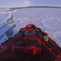 Arctic Ocean. A Russian nuclear icebreaker, forges towards the North Pole.