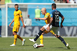 June 16, 2018 - Kazan, Kazan, France - midfielder Aaron Mooy of Australia National team and midfielder Corentin Tolisso of France National team duringa  Group C 2018 FIFA World Cup soccer match between France and Australia on June 16, 2018, at the Kazan Arena in Kazan, Russia. (Credit Image: © Anatolij Medved/NurPhoto via ZUMA Press)