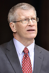 18 March 2015:  Missouri Valley conference (MVC) Commissioner Doug Elgin during an NIT men's basketball game between the Green Bay Phoenix and the Illinois State Redbirds at Redbird Arena in Normal Illinois