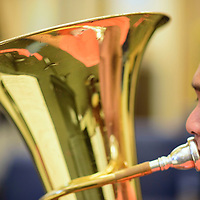 042015  Adron Gardner/Independent<br /> <br /> Ryan hernandez plays the tuba during Gallup Music Teacher's Ensemble practice at Gallup Middle School Monday.