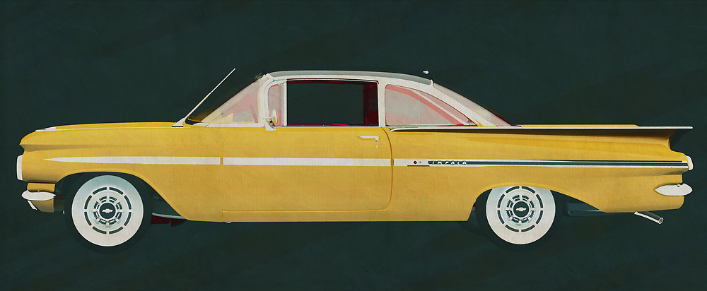 The Chevrolet Impala from the 1950s has created a real trend with its exceptional bodywork. The Chevrolet Impala has a characteristic design due to its wings at the back which would later become symbolic for a generation.<br /> <br /> This painting of a Chevrolet Impala can be printed very large on different materials. The work has a panoramic proportion and is very suitable to add a detail in a workspace, showroom or just at home that will impress your visitors. –<br /> <br /> BUY THIS PRINT AT<br /> <br /> FINE ART AMERICA<br /> ENGLISH<br /> https://janke.pixels.com/featured/the-chevrolet-impala-symbol-of-the-1950s-jan-keteleer.html<br /> <br /> WADM / OH MY PRINTS<br /> DUTCH / FRENCH / GERMAN<br /> https://www.werkaandemuur.nl/nl/shopwerk/De-Chevrolet-Impala-1959/605994/132<br /> <br /> -