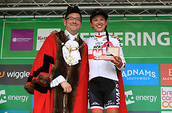 Stage winner, WM3 Pro Cycling's Katarzyna Niewiadoma with Kettering Borough Councilor Scott Edwards after the Women's Tour of Britain from Daventry to Kettering.