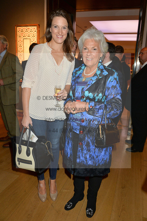 Left to right, SOPHIA MONEY-COUTTS and ROMA WATKINS mother of the Duchess of Rutland at a party to celebrate the publication of Capability Brown & Belvoir - Discovering a lost Landscape by The Duchess of Rutland, held at Christie's, 8 King Street, St.James, London on 7th October 2015.