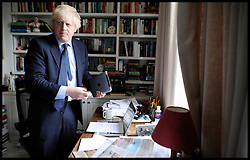 London Mayor Boris Johnson at his home in North London preparing for the Stonewall Hustings at the BFI, London, Saturday April 14, 2012. Photo By Andrew Parsons/i-Images.