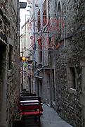 Paved street or lane, Korcula old town, island of Korcula, Croatia