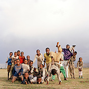 Group of local children posing for camera, Jimma, South West Ethiopia