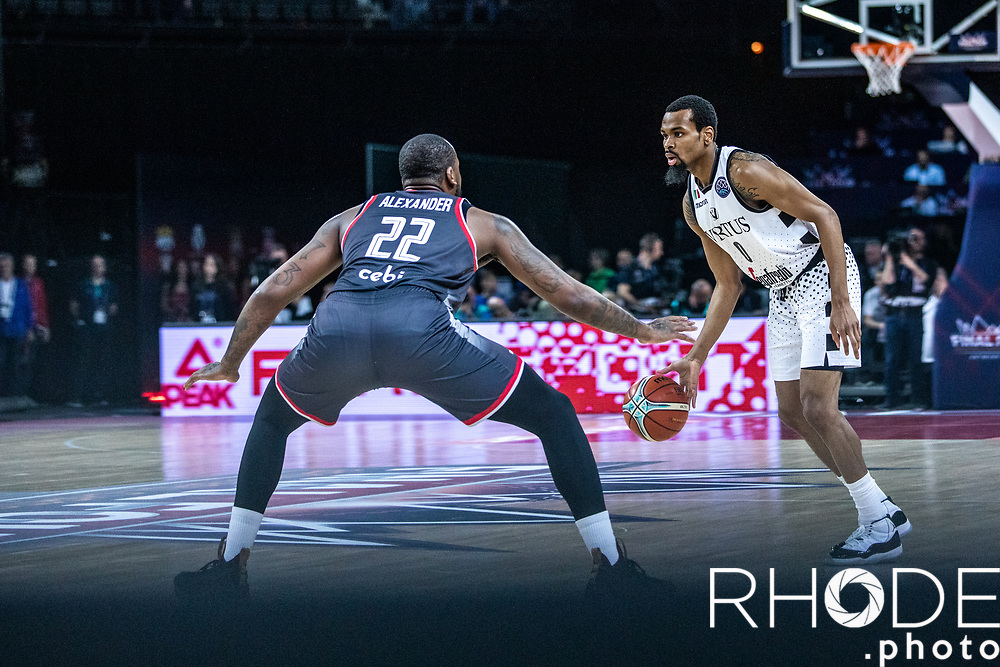 Kevin Punter (USA/Segafredo Virtus Bologna) attacking the dribble. <br /> <br /> <br /> Basketball Champions League Final Four Antwerp 2019<br /> Semi-Final: Virtus Segafredo Bologna (ITA) vs. Brose Bamberg (GER) : 67-50 <br /> <br /> ©RhodePhoto