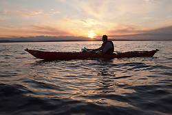 North America, United States, Washington, Seattle, Kayaking near West Seattle