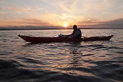 North America, United States, Washington, Seattle, Kayaking near West Seattle