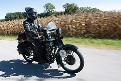 George Unruh riding his 1924 Harley-Davidson JDCA in the Motorcycle Cannonball coast to coast vintage run. Stage 5 (229 miles) from Bowling Green, OH to Bourbonnais, IL. Wednesday September 12, 2018. Photography ©2018 Michael Lichter.