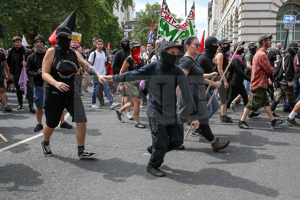 © Licensed to London News Pictures. 03/08/2019. London, UK. Anti Tommy Robinson protesters demonstrates in central London. Last month Tommy Robinson was given a nine-month prison sentence at Old Bailey after he was found guilty of contempt of court.. Photo credit: Dinendra Haria/LNP