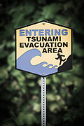 Tsunami evacuation area sign, Hamakua Coast, The Big Island, Hawaii USA