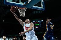 SPAIN, Madrid: Real Madrid's Lithuanian player Jonas Maciulis and Ucam Murcia´s Dominican  player Sadiel Rojas during the Liga Endesa Basket 2014/15 match between Real Madrid and Ucam Murcia, at Palacio de los Deportes in Madrid on November 16, 2014.