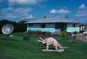 A triceratops lawn ornament of a private home near Drumheller, Canada.