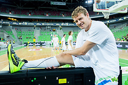 Miha Zupan of Slovenia at warming up prior to the friendly basketball match between National Teams of Slovenia and Brasil at Day 2 of Telemach Tournament on August 22, 2014 in Arena Stozice, Ljubljana, Slovenia. Photo by Vid Ponikvar / Sportida