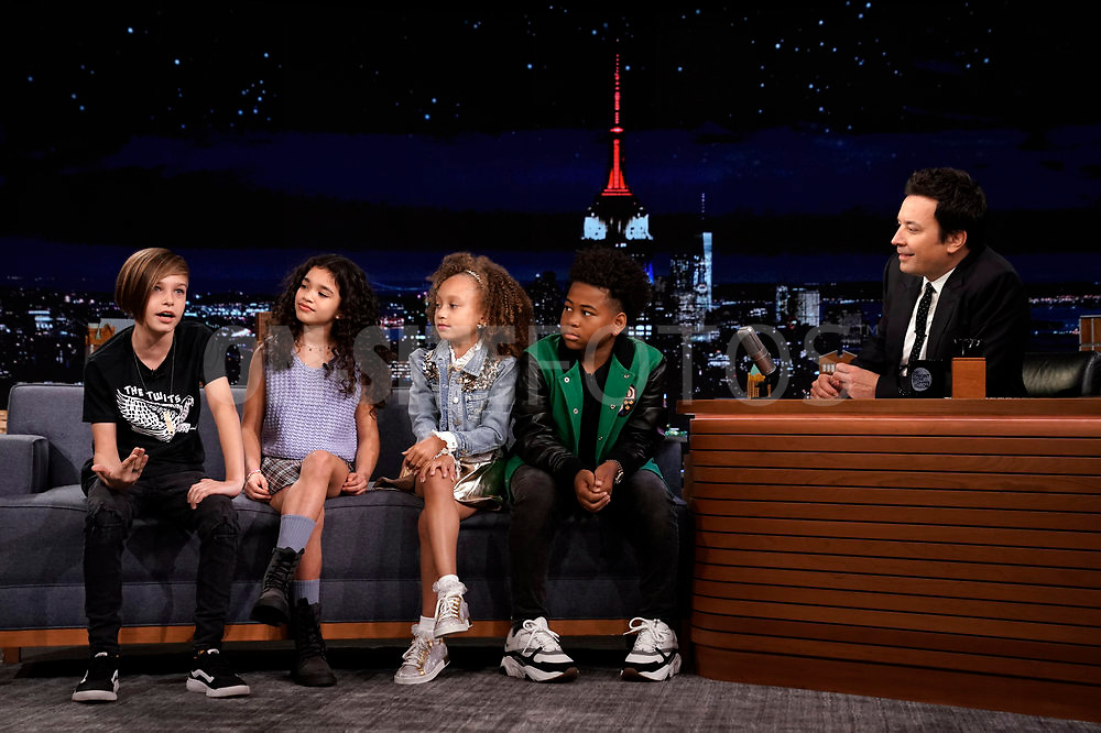 THE TONIGHT SHOW STARRING JIMMY FALLON -- Episode 1531 -- Pictured: (l-r) The Kids Tonight Show Hosts during an interview with host Jimmy Fallon on Thursday, October 7, 2021 -- (Photo by: Sean Gallagher/NBC)