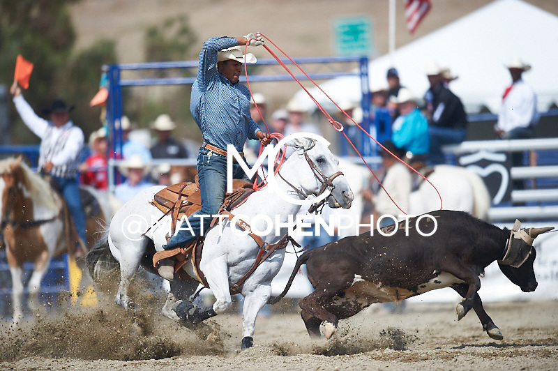 Team roper Junior Nogueira of Scottsdale, AZ competes at the Rancho Mission Viejo Rodeo in San Juan Capistrano, CA.  <br /> <br /> <br /> UNEDITED LOW-RES PREVIEW<br /> <br /> <br /> File shown may be an unedited low resolution version used as a proof only. All prints are 100% guaranteed for quality. Sizes 8x10+ come with a version for personal social media. I am currently not selling downloads for commercial/brand use.