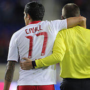 Tim Cahill, Red Bulls, with referee Mark Geiger during the New York Red Bulls V D.C. United Major League Soccer, Eastern Conference Semi Final 2nd Leg match at Red Bull Arena, Harrison. New Jersey. USA. 8th November 2012. Photo Tim Clayton