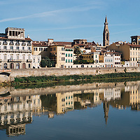 Reflections on the river Arno in Florence, Italy.