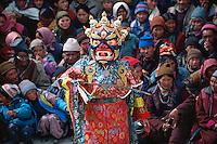 """A medium dances in full costume during the Matho Temple festival in Ladakh, India<br /> Available as Fine Art Print in the following sizes:<br /> 08""""x12""""US$   100.00<br /> 10""""x15""""US$ 150.00<br /> 12""""x18""""US$ 200.00<br /> 16""""x24""""US$ 300.00<br /> 20""""x30""""US$ 500.00"""