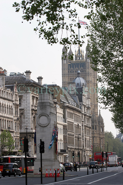 21 April 2011. London, England..View along Whitehall past the Cenotaph to the Houses of Parliament, part of the Royal wedding route where the procession will pass through en route to Buckingham Palace in the run up to Catherine Middleton's marriage to Prince William..Photo; Charlie Varley.