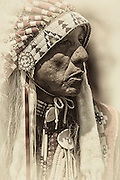 Ute Native American Chief with an eagle feather warbonnet.