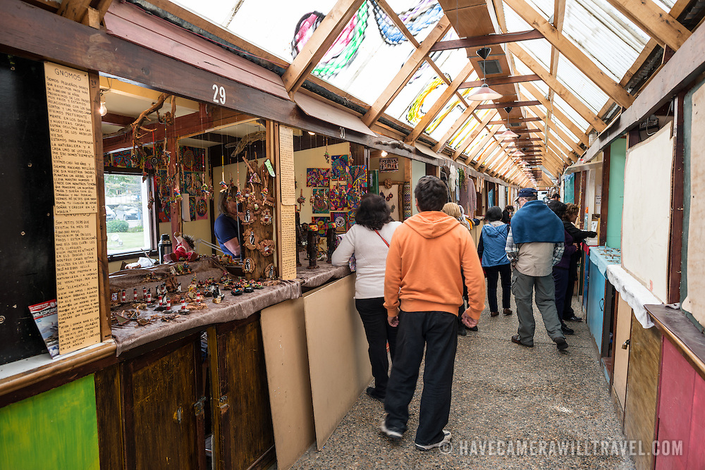 A covered arts and craft market on the waterfront of Ushuaia, Argentina.